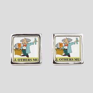 god and science joke gifts t-shirts Square Cufflin