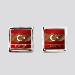 Turkey Map and Flag Square Cufflinks