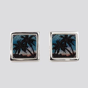 Blue Palms Square Cufflinks
