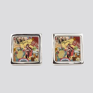 Vintage Western cowgirl collage Square Cufflinks