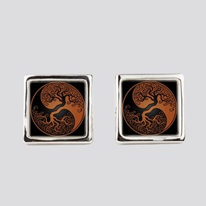 Brown Yin Yang Tree with Black Back Cufflinks