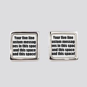 Super Mega Five Line Custom Message Cufflinks