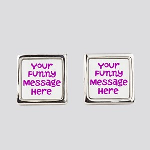 Four Line Dark Pink Message Square Cufflinks