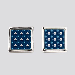 Blue and Tan Chevron Ice Hockey Square Cufflinks