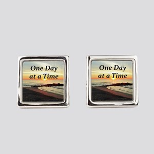 ONE DAY AT A TIME Square Cufflinks