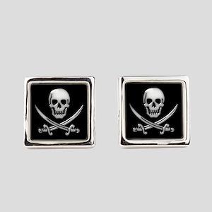Glassy Skull and Cross Swords Square Cufflinks