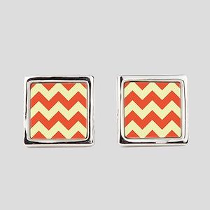 cream & persimmon chevron pattern Square Cufflinks