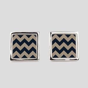 beachy sand tan and navy chevron pattern Square Cu