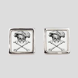 Chef Skull and Crossbones Square Cufflinks