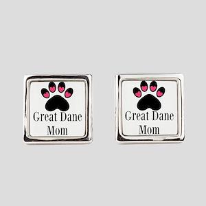 Great Dane Mom Paw Print Square Cufflinks