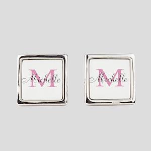 Personalized pink monogram Square Cufflinks