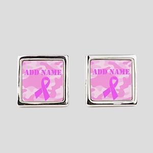 Pink Ribbon Camo Square Cufflinks
