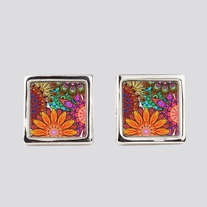 Funky Flowers Square Cufflinks
