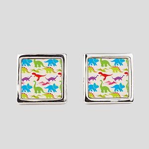Cool Colorful Kids Dinosaur Pattern Square Cufflin