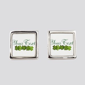 Personalizable Shamrocks Square Cufflinks