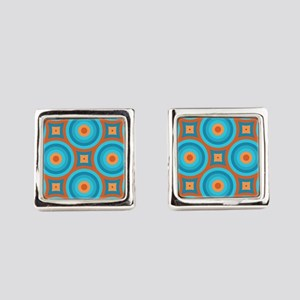Orange and Blue Mid Century Modern Square Cufflink