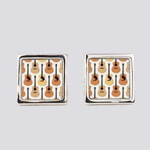 Acoustic Guitars Pattern Square Cufflinks