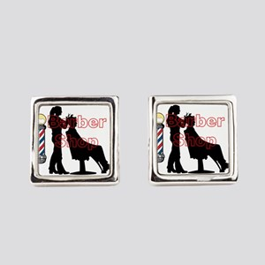 Lady Barber Shop Design Square Cufflinks
