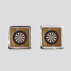 Darts Board On Wooden Background Square Cufflinks