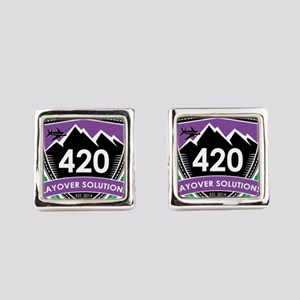 420 Layover Solutions Square Cufflinks