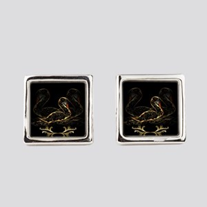 Swan in gold and black Square Cufflinks
