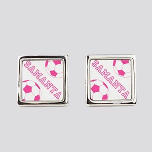 Soccer Girl Personalized Square Cufflinks