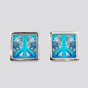 Abstract Blue Peace Sign Square Cufflinks