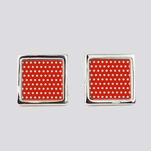 Red and White Polka Dots Square Cufflinks
