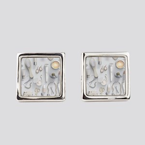 White Vanity Table Square Cufflinks