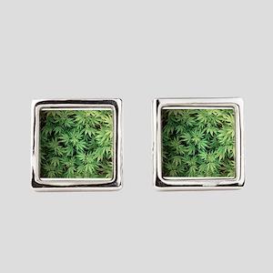 Marajuana Weed Pot Square Cufflinks
