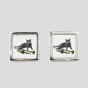 Cat with Trumpet Square Cufflinks