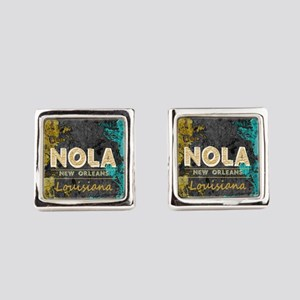 NOLA New Orleans Black Gold Turqu Square Cufflinks