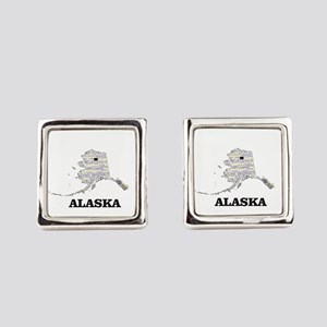 AK WORD COLLAGE Square Cufflinks