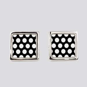 # Black And White Polka Dots Square Cufflinks
