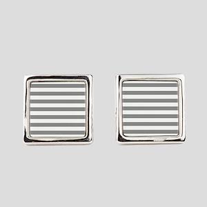 Grey and White Horizontal Stripes Square Cufflinks