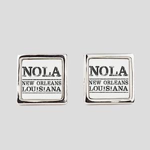 NOLA New Orleans Vintage Square Cufflinks