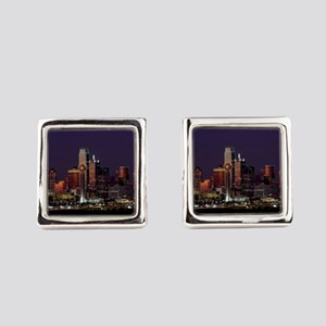 Dallas Skyline at Night Square Cufflinks