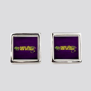 Mardi Gras New Orleans Mask Beads Square Cufflinks