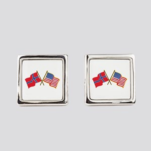 Norwegian American Flags Square Cufflinks