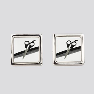 ScissorsComb052010 Square Cufflinks