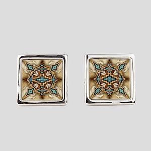 Native American Style Mandala 26 Square Cufflinks