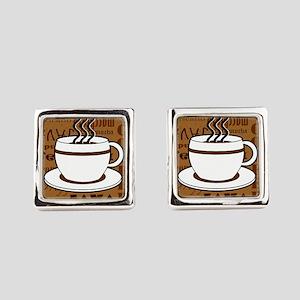 Coffee Words Jumble Print - Brown Cufflinks