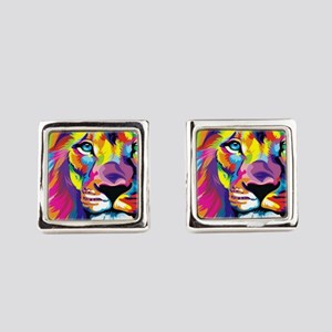 Leo the trippy lion Square Cufflinks