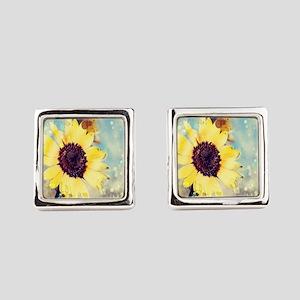 romantic summer watercolor sunflo Square Cufflinks