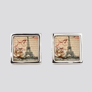 girly rose eiffel tower paris Square Cufflinks