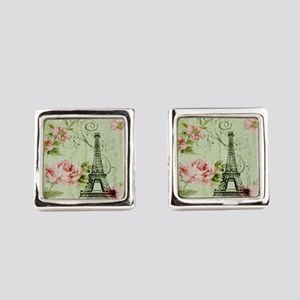 floral vintage paris eiffel tower Square Cufflinks