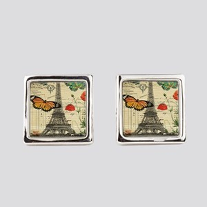 vintage paris eiffel tower Square Cufflinks