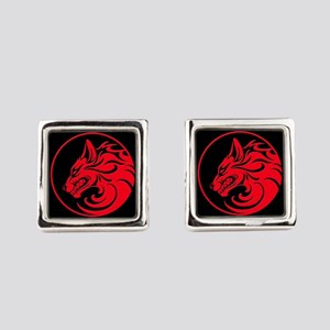 Growling Red and Black Wolf Circle Square Cufflink