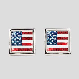 usa flag heart Square Cufflinks