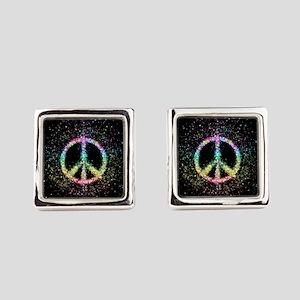 Glitter Flower Peace Sign Square Cufflinks